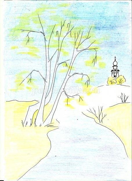 Легкие рисунки на природе 015