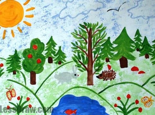 Легкие рисунки на природе 017