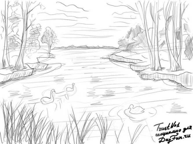 Легкие рисунки на природе 018