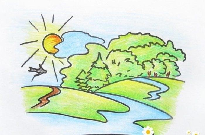 Легкие рисунки на природе 020