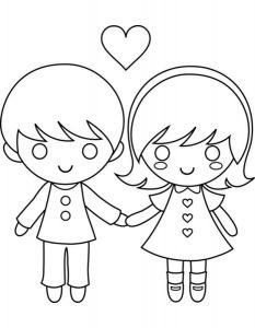 Нарисованные Мальчик и девочка картинки для детей 018