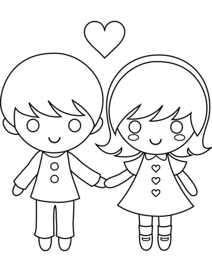 Мальчик с девочкой картинки для срисовки