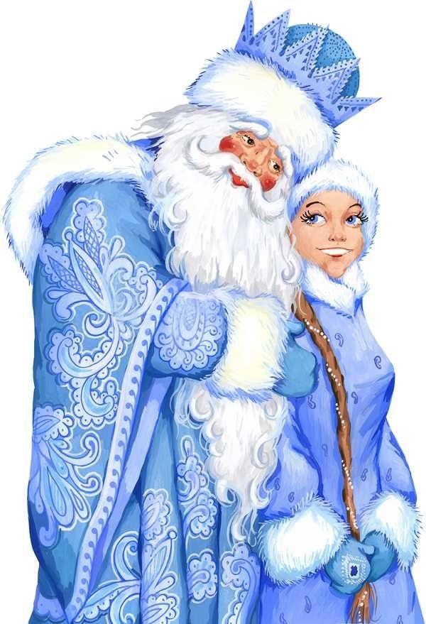 Картинки деда мороза со снегурочкой, днем