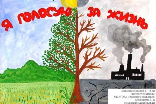 плакат на тему экологии в школу такое печать холсте