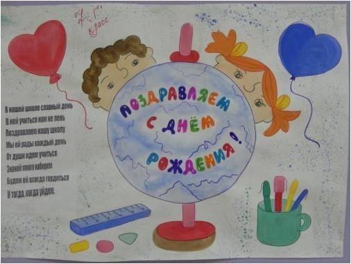 Днем родения, открытки день рождения школы своими руками