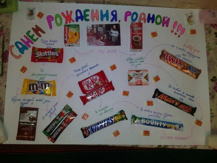 Открытки с днем рождения мужу от жены и детей из шоколадок, днем летия внука