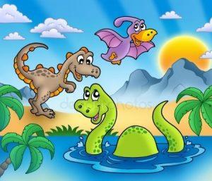 Прикольные динозавры рисунок для детей 015