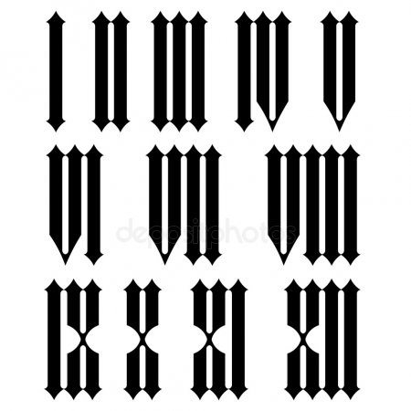 Римские цифры шрифты для тату 019