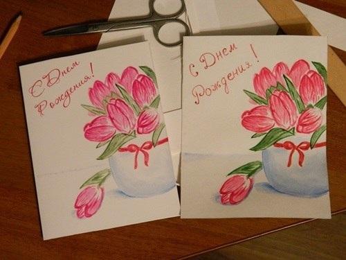 Рисовать открытку на день рождения маме 017