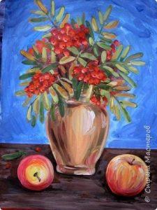 Рисунки как нарисовать вазу с листьями осени поэтапно 018