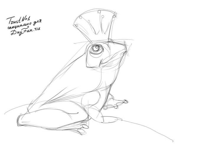 Открытки своими, лягушка царевна картинки карандашом