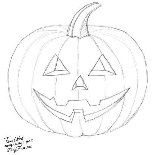 Рисунки хэллоуин картинки карандашом 005