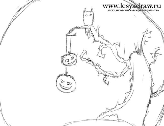 Рисунки хэллоуин картинки карандашом 009