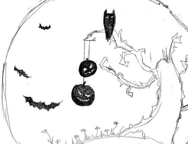 Рисунки хэллоуин картинки карандашом 015