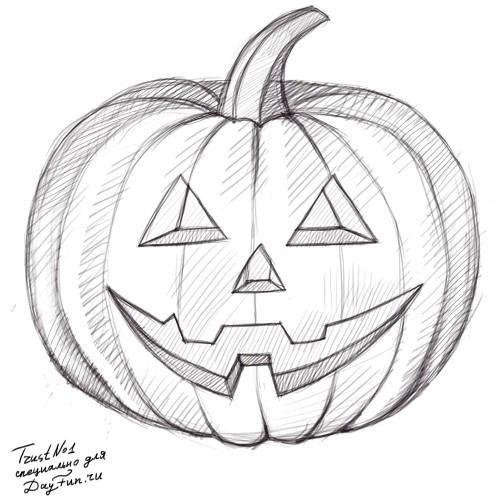 Рисунки хэллоуин картинки карандашом 016