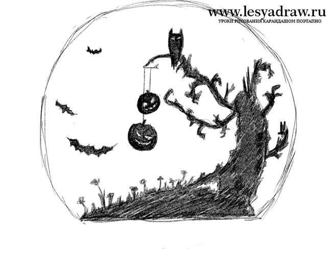 Рисунки хэллоуин картинки карандашом 017