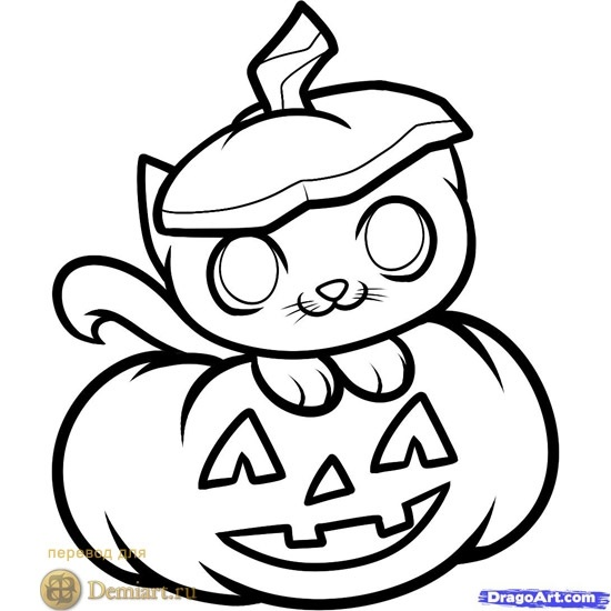 Рисунки хэллоуин картинки карандашом 018