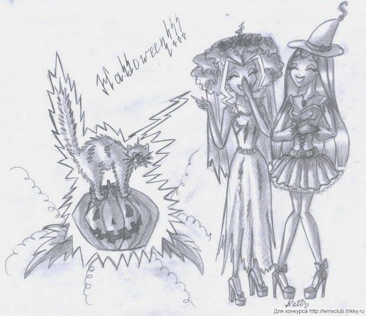 Рисунки хэллоуин картинки карандашом 023