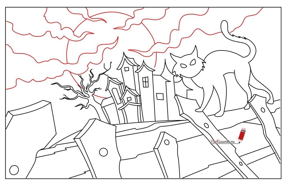 Рисунки хэллоуин картинки карандашом 024