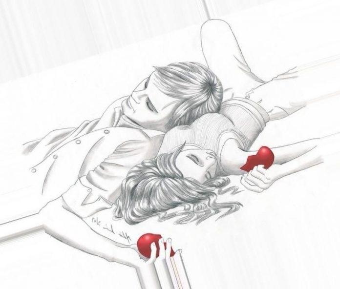 Рисунок обнимашки для срисовки 015