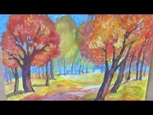 Рисунок осень гуашью поэтапно 004