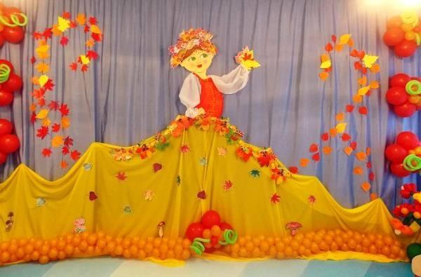 Украшение зала в детском саду на праздник осени 007