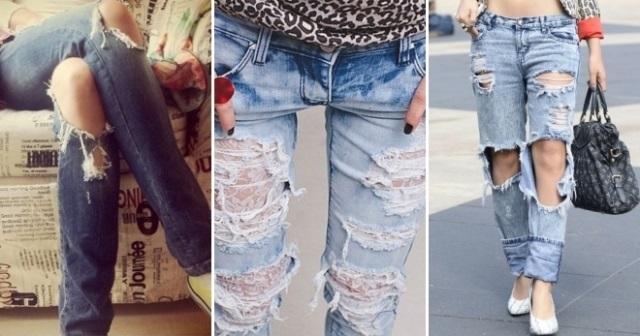 Фото девушки без лица в джинсах 008