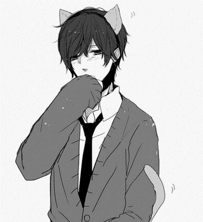 Черно белые аниме парни 003