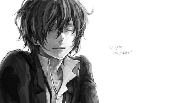 Черно белые аниме парни 021