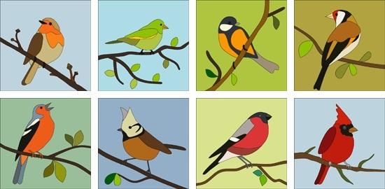 Шаблоны для аппликации птички 006