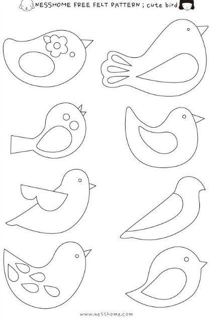 Шаблоны для аппликации птички 007