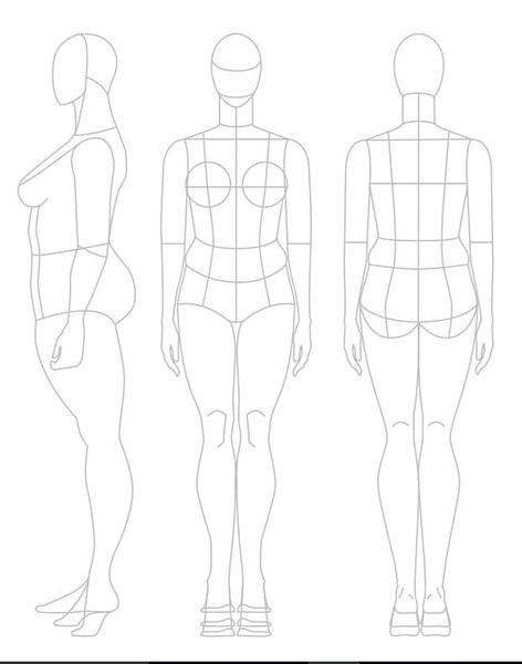 Шаблоны для рисования платья 015