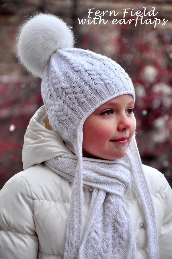 Шапка с ушками для девочки спицами на зиму 002