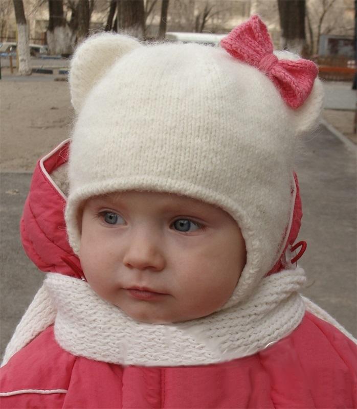 Шапка с ушками для девочки спицами на зиму 005