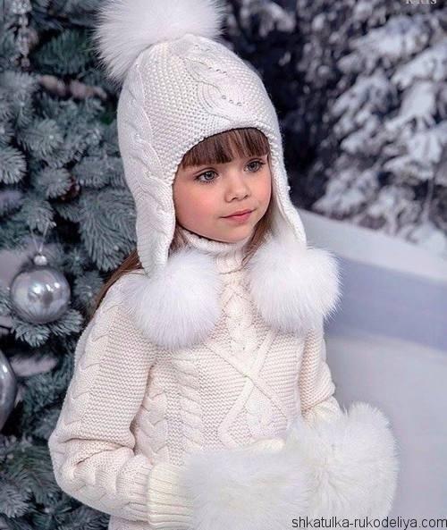 Шапка с ушками для девочки спицами на зиму 015