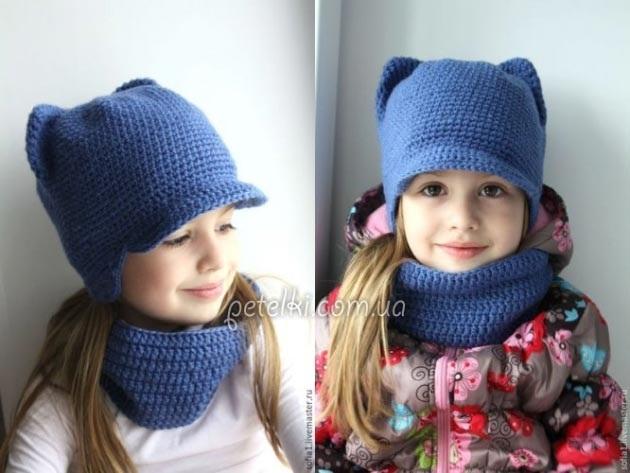 Шапка с ушками для девочки спицами на зиму 017