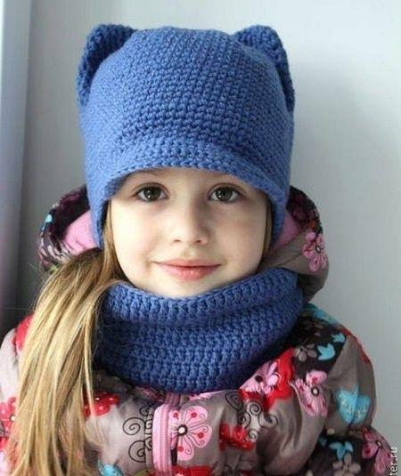 Шапка с ушками для девочки спицами на зиму 020