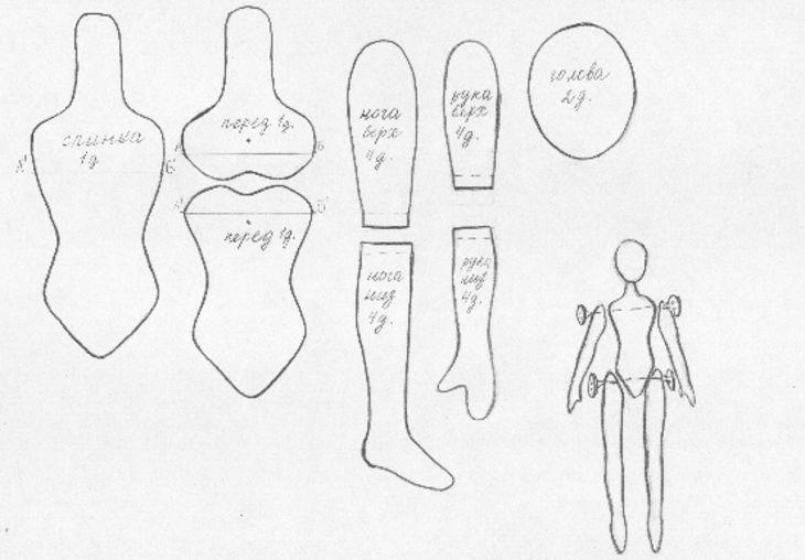 Шарнирные текстильные куклы 009