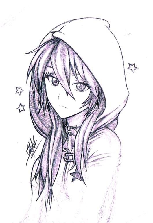 аниме рисунок девушка красивая 014