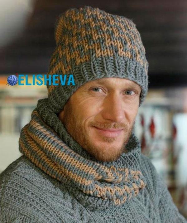 вязаные мужские шапки спицами фото и картинки 020