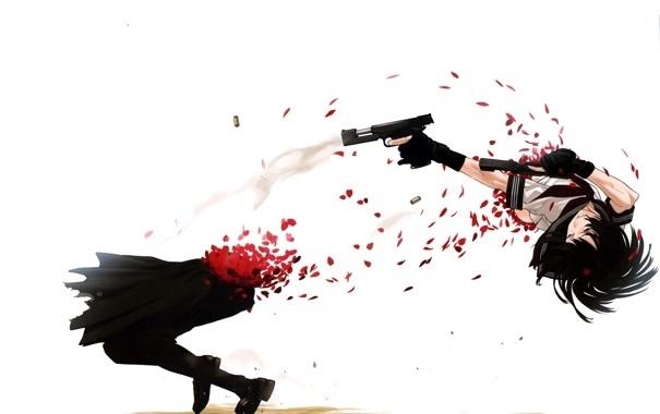 девушка аниме с пистолетом 004