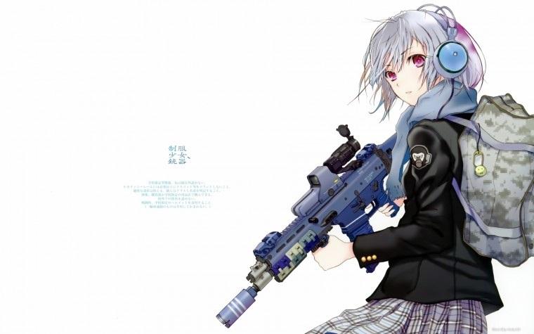 девушка аниме с пистолетом 012