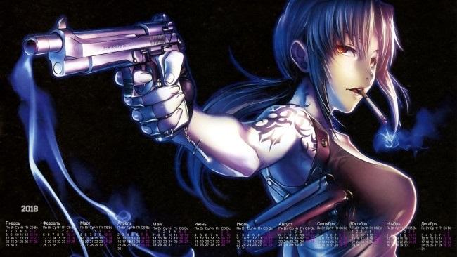девушка аниме с пистолетом 017