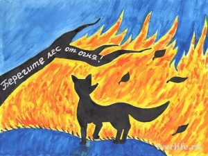 детские рисунки на тему берегите лес от пожара 008