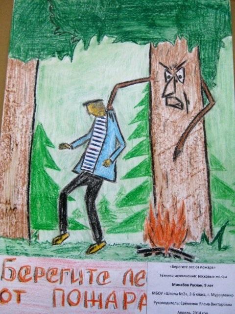 детские рисунки на тему берегите лес от пожара 009