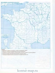 карта франции контурная 019