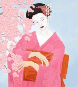 красивая гейша рисунок 024