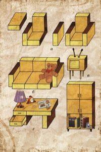 красивая мебель бумажная 015