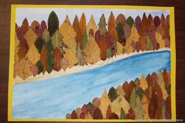 красивый осенний пейзаж аппликация из листьев 015