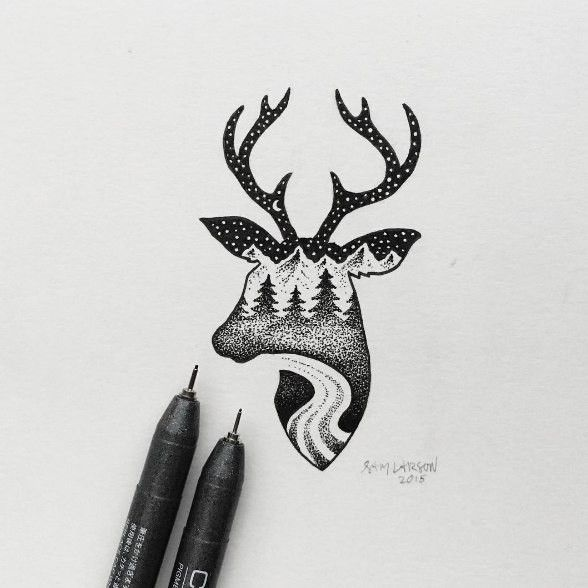 Прикольные рисунки черной гелевой ручкой на бумаге, люблю тебя мой